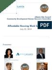 Invest Atlanta affordable housing presentation to Atlanta City Council, 2014