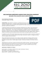 Meg Whitman Announces Agriculture Coalition Leadership