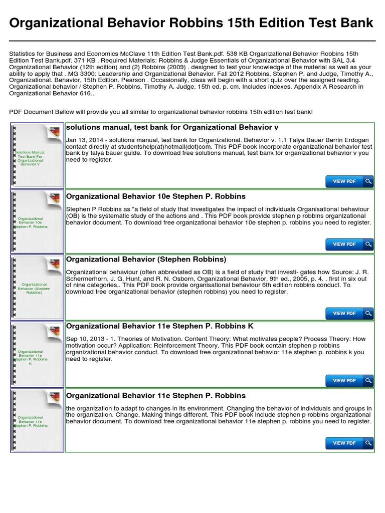 organizational behavior robbins 15th edition test bank organizational behavior test  assessment