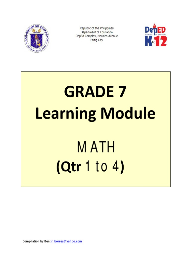 Kto12 Grade 7 Math Q1 To Q4 Subtraction
