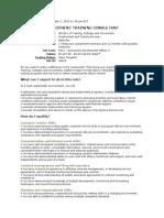 Employment Training Consultant Job Ad