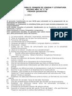 Cuestionario Para El Examen de Lengua y Literatura