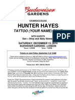Hunter Hayes Tattoo (Your Name) Tour Press Release