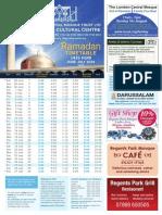 Ramadan Timetable 2014