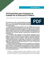 SNTE 10 Propuestas Segurar Calidad Educacion