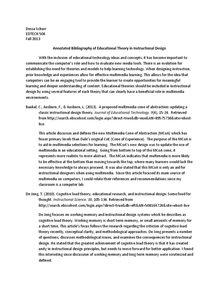 Annotated Bibliography Instructional Design Educational Technology