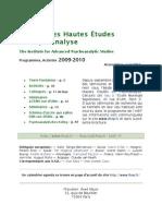 2009-2010 IHEP Brochure avec séminaires à l'ENS rue d'Ulm, Paris - Institut des hautes études en psychanalyse