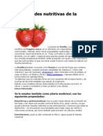 Propiedades Nutritivas de La Frutilla