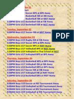 Next Week Games Schedule