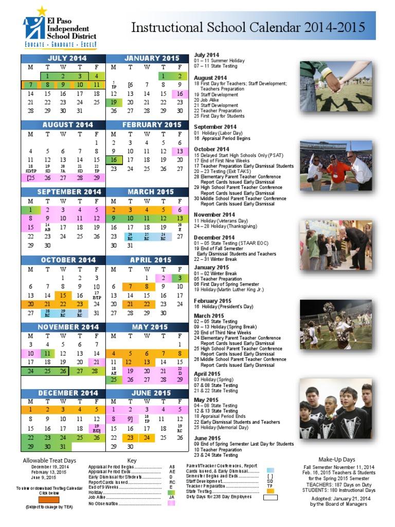 Episd Calendar 2020 episd district calendar 2014 15 | Academic Term | Educational