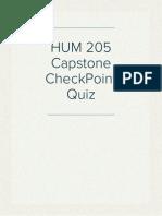 HUM 205 Capstone CheckPoint Quiz
