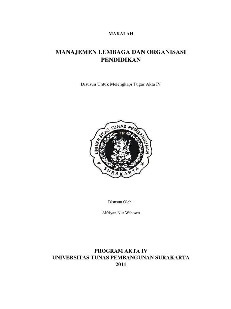 Makalah Manajemen Lembaga Dan Organisasi Pendidikan