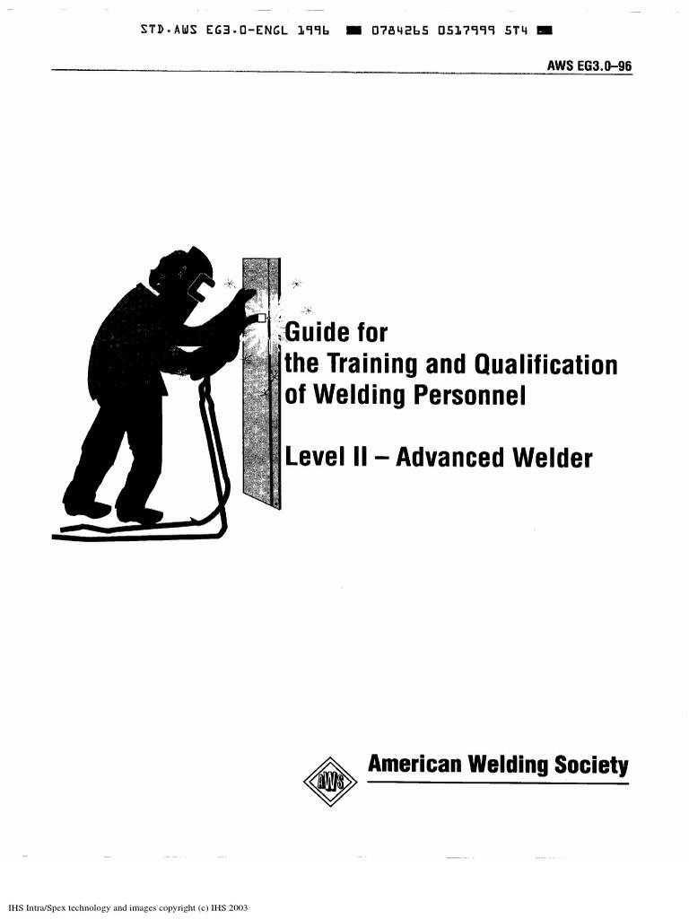 Aws Eg3.0 96 Training Welder Level 11