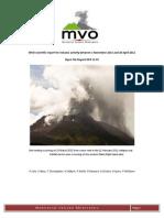 Monterrat Volcano Observatory Scientific Report