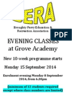 BERA Programme of Evening Classes at Grove Academy in Broughty Ferry Autumn Term 2014