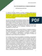 Anteproyecto de Ley de Garantía de La Unidad de Mercado