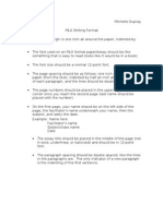 Michelle Dupray MLA Writing Format • the Page Margin Is