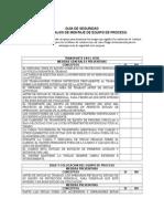 Checklist Para Trabajos de Montaje de Equipo de Proceso