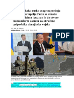 Kijev Tvrdi Kako Ruske Snage Napreduju Prema Mariupolju Putin Se Obratio Pobunjenicima i Pozvao Ih Da Otvore Humanitarni Koridor Za Okružene Pripadnike Ukrajinske Vojske