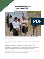 Rakhine Government Delays IDP Resettlement Plan, Says ECC