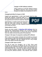Recent Changes in ERP Software Industry