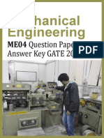 GATE 2014 Question Paper - Mechanical Engineering ME04 & Answer Key