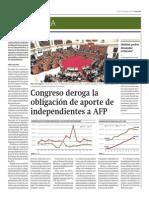 Congreso Deroga La Obligación de Aporte de Independientes a AFP_Gestión 29-08-2014