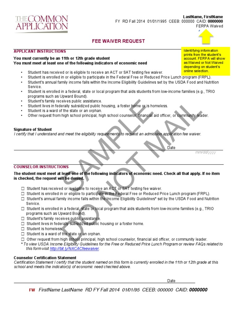 Sample Feei Dont Care Waiver Student Financial Aid In The United
