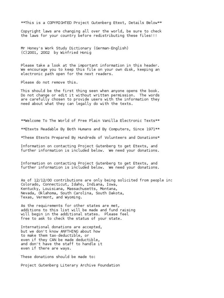 Mr. Honey\'s Work Study DictionaryGerman-English by Honig, Winfried ...