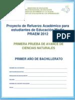 Primera Prueba de Avance - Ciencias Naturales - Primer Año de Bachillerato -Praem 2012