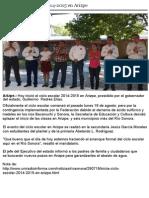 28-08-2014 Gobernador Guillermo Padrés presidió inicio de ciclo escolar en Arizpe.