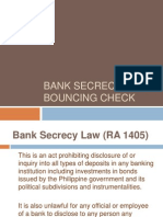 Bouncing Check & Bank Secrecy Law