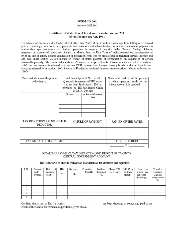 Certificate of deduction of tax at source under section ...