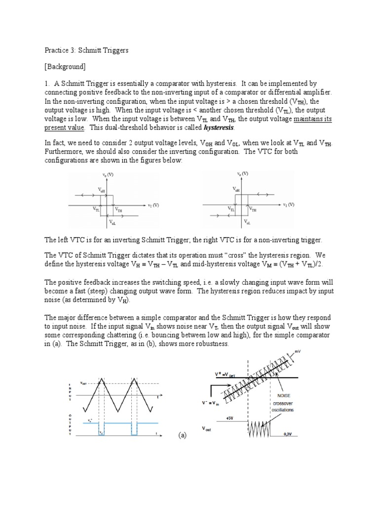 Schmitt Trigger Analog Circuits Operational Amplifier Inverting Comparator With Hysteresis