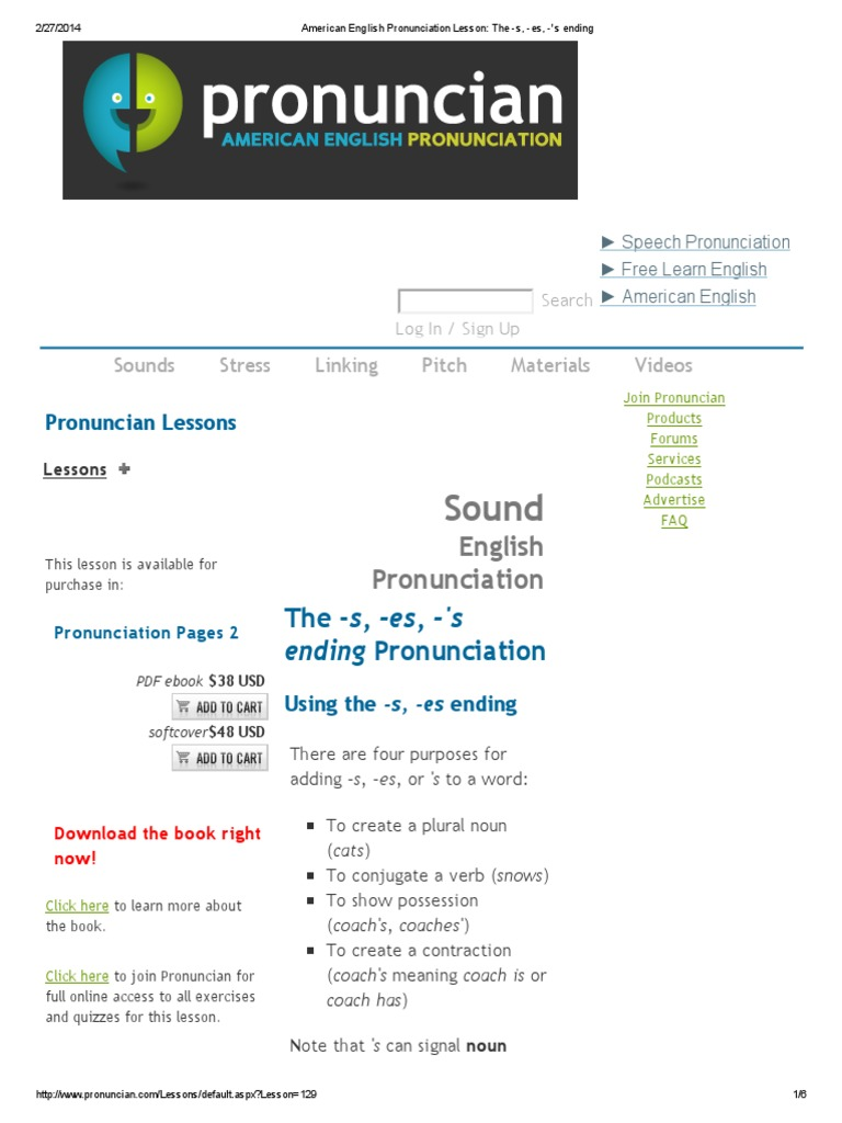 American English Pronunciation Lesson_ the -s, -Es, -'s Ending