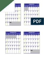 4 Month Calendar Planner