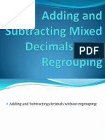 Adding and Subtracting Mixed Decimals With Regrouping Grade 5