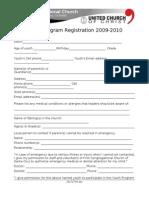 Fall 2009 Sunday Youth Program Registration Form