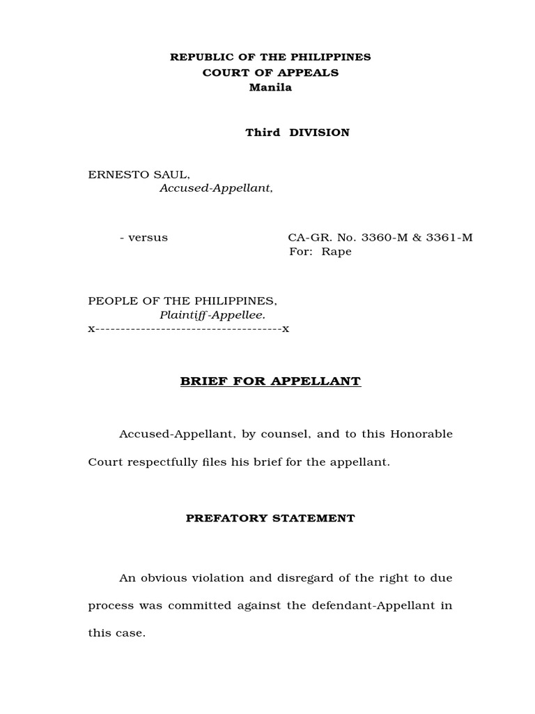 Appellant\'s Brief Sample | Burden Of Proof (Law) | Brief (Law)