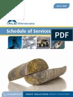ALS Minerals Services Schedule USD 2012