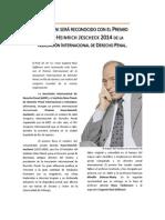 Premio JESCHECK 2014 (AIDP) para Raúl Zaffaroni