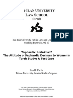 'Sephardic' Halakhah the Attitude of Sephardic Decisors to Women's Torah Study a Test Case - Ilan H. Fuchs