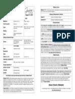 Bulletin for Sunday, August 31st 2014