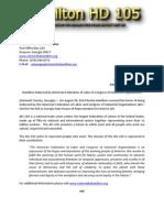 Press Release Hamilton HD 105 083014