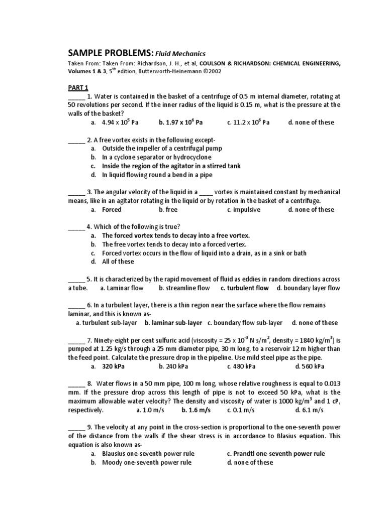 Fluid Mechanics- Reviewer   Gas Compressor   Pump