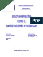 Ensayo Comparativo Entre Concreto Armado y Pretensado