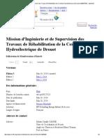 Mission d'Ingénierie Et de Supervision Des Travaux de Réhabilitation de La Centrale Hydroélectrique de Drouet (Op00027323) - DgMarket