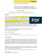 Disclosure of the Impacts of Adopting Australian Equivalents of International Financial Reporting Standards