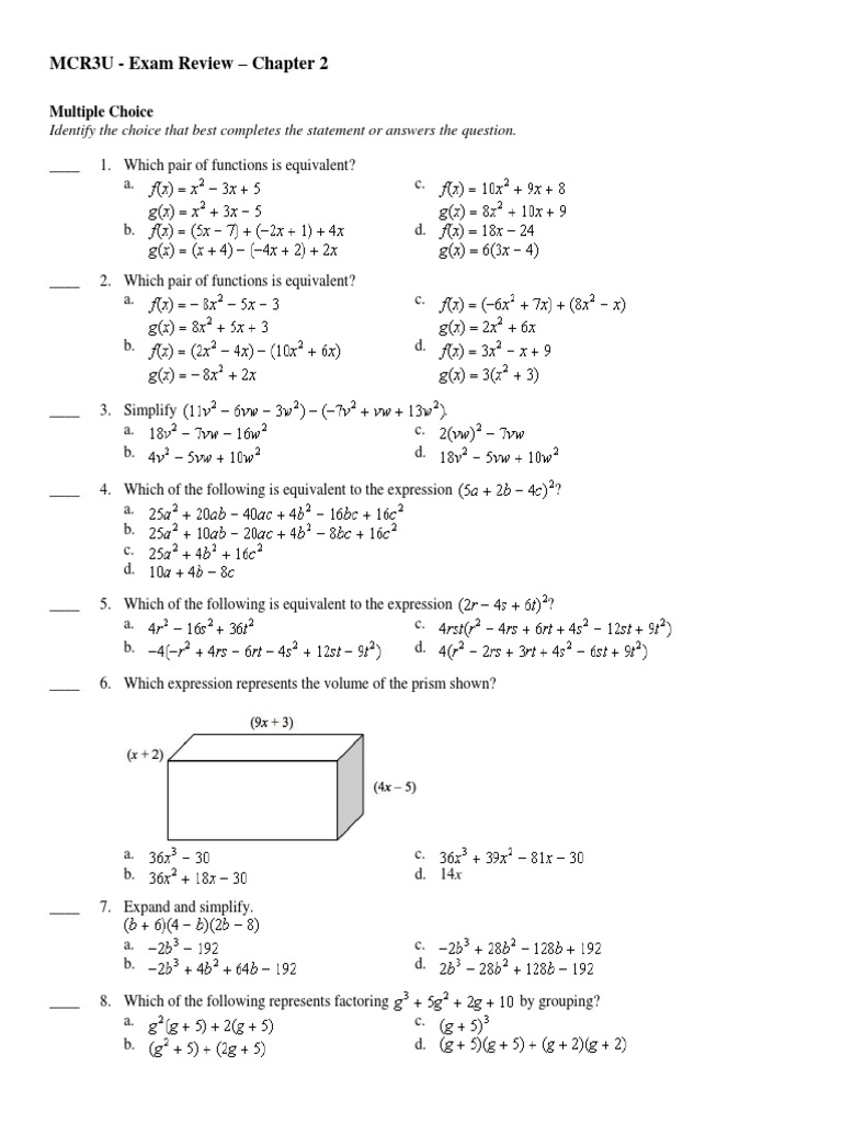 Ch2 - MCR3U - Review | Factorization (62 views)