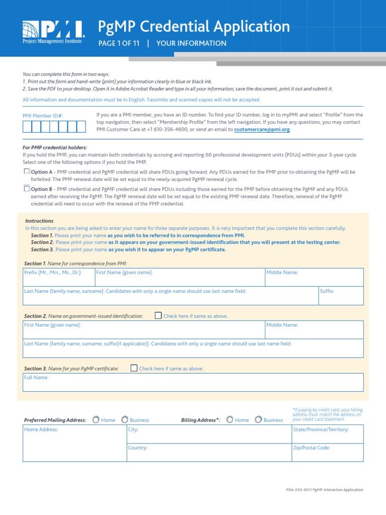 Certificationspgmp Application Form Academic Degree Zip Code